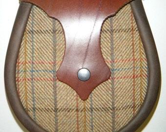 Handmade Tweed & Crazy Brown Leather Ness Sporran.