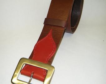 Handmade Brown & Red Leather Kilt Belt