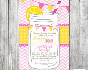 Pink LEMONADE Printable Invitation - Pink Lemonade Party Invite - 5x7 inches