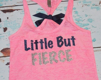 Little But Fierce. Glitter Writing. Bow. Tank top. Size S-2XL. Exercise. Soft. Women. Workout. Fitness.