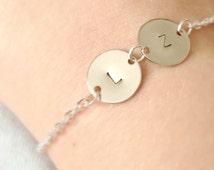 Initial Bracelet,Double Initial Bracelet, Double Silver Monogram Initial Bracelet, Personalized Bracelet, Silver Disc Bracelet