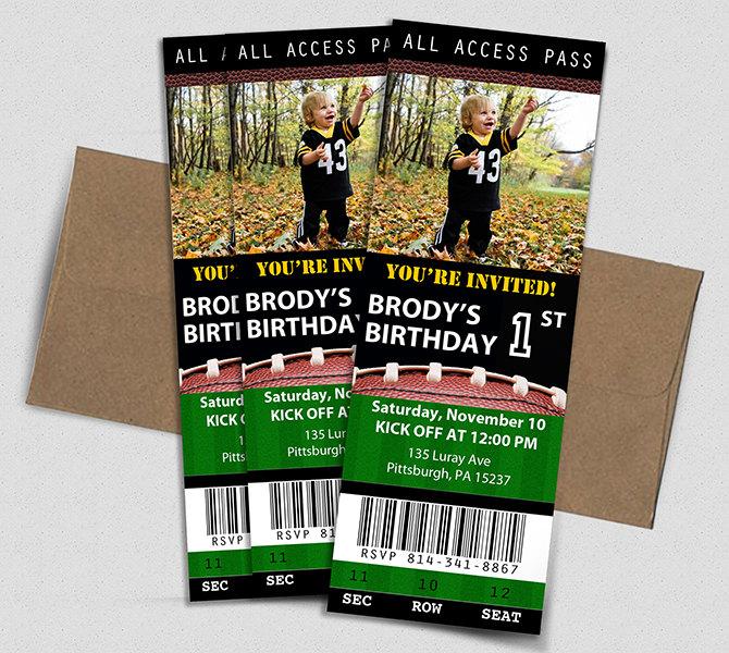 Football Ticket Birthday Invitation Printable