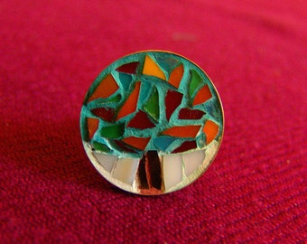free shipping, Tree ring, mosaic ring, round stained glass jewelry, adjustable mosaic ring, special gift