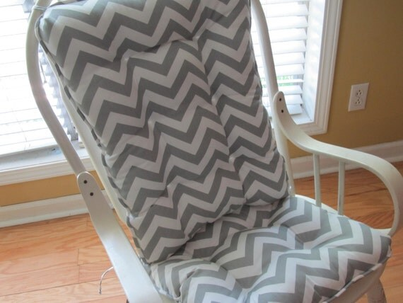 or rocking chair cushion set in gray and white chevron for nursery