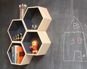 Slate Grey Floating Honeycomb Shelves:  Set of 3