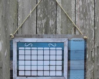 Dry erase calendar, blue barn wood, rustic calendar