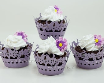 Lovebirds Lavender Shimmer Elegant Laser Cut Lace Wedding Cupcake / Muffin  Wrappers - (set of 12)