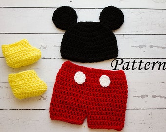 Crochet PATTERN - Newborn to 12 months Mickey Mouse shorts set Photo Prop Set -Instant Download PDF- Photography Prop Pattern