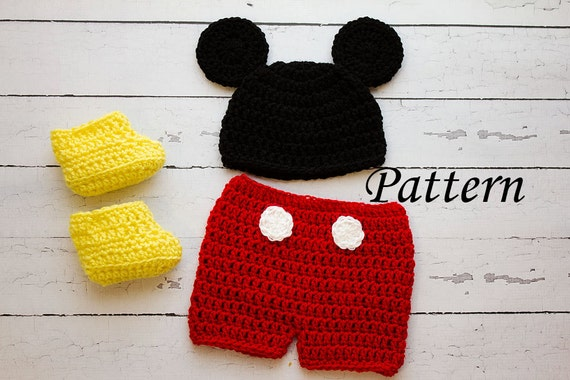 Crochet PATTERN Newborn to 12 months Mickey Mouse shorts set