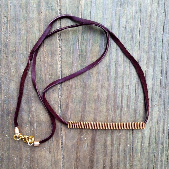 items similar to leather and gold bar necklace guitar string jewelry upcycled guitar strings. Black Bedroom Furniture Sets. Home Design Ideas