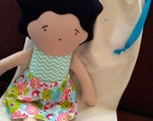 Fabric Doll ORDER A CUSTOM DOLL with Sweet  Expressive Embroidered Face.