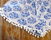 Blue & White Pom Pom Shorts - Trendy Blue and White Thyme Print with Large White Pom Pom's