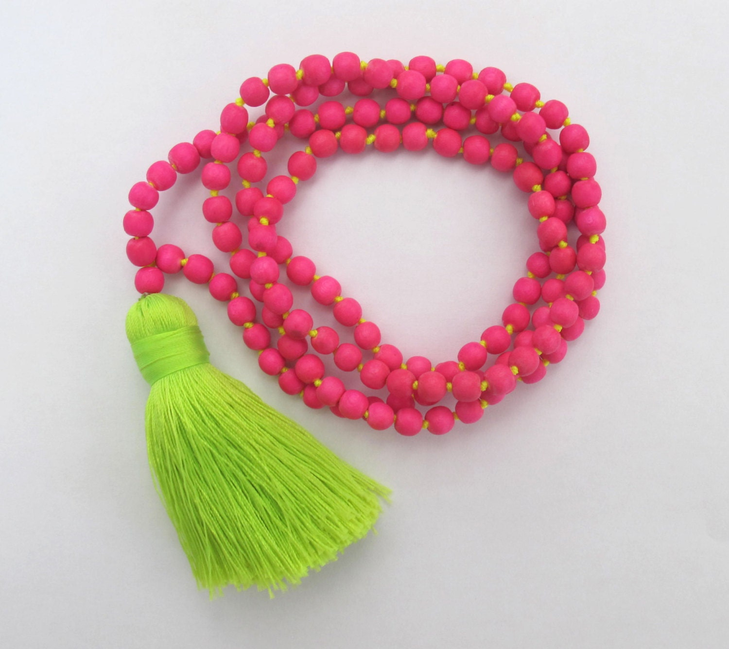 hot pink beaded tassel necklace chunky lime green tassel. Black Bedroom Furniture Sets. Home Design Ideas