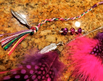 Hot pink & purple feather hair extension clip