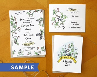 Berry Perfection: Hand Drawn Wedding Invitation Suite Printed Sample