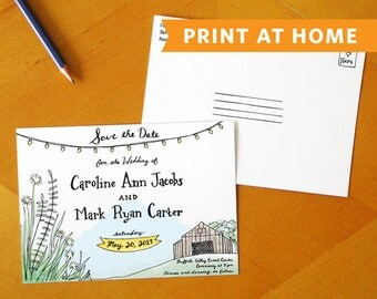 A Rustic Romance: Save the Date Postcard Printable - Perfect Announcement for a Rustic Wedding, Barn Wedding, or Country Wedding