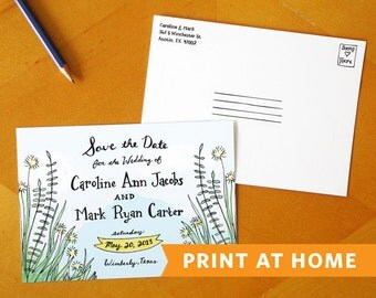 A Southern Romance: Save the Date Postcard Printable - Perfect for an Outdoor Wedding, Rustic Wedding, or Country Wedding