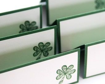 Whimsical Shamrock Celtic Wedding Place Cards Set of Twelve, Food Tents or Escort Cards, St. Patrick's Day Party Decor