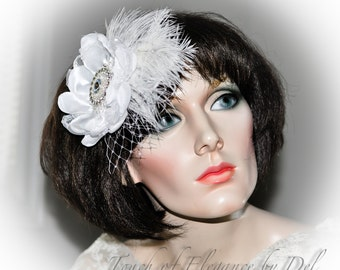 Diamond white headpiece / corsage - ostrich feather, birdcage veil and bling