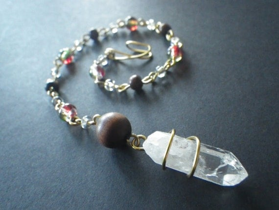 Christmas Winter Ice- Gold Colored Wire Craft- Rear View Mirror- Window Charm- Window Crystal- Wooden Bead- CassieVision