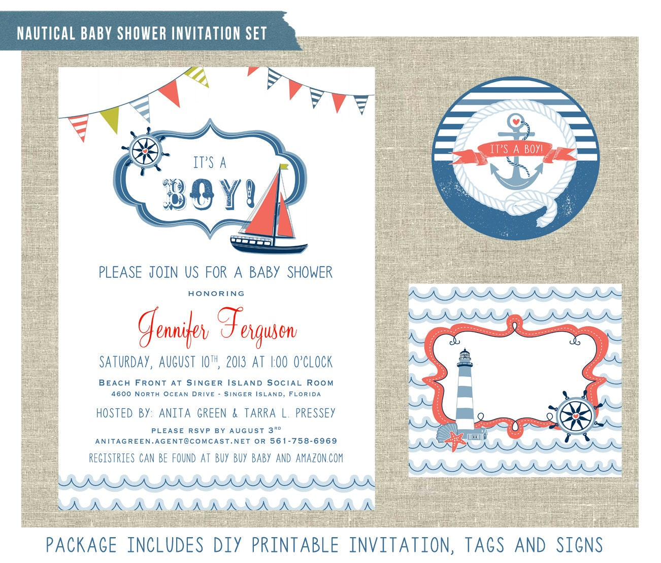 nautical themed baby shower invitation set by mementodesignpaperie