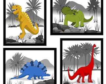 Dinosaur Art, Canvas Dinosaur Wall Decor, 4 Prints, Boys Wall Art