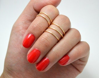 Gold Stacked Above the Knuckle Midi Ring Set (5)