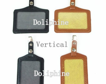 Business Name Tag PU Leather ID Badge Card Holder with Metal Clip & Snap