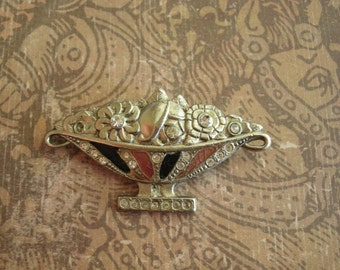 Vintage Art Deco Rhinestone Enamel Potmetal Pin Brooch