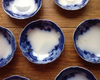 Flow Blue Cambridge New Wharf Pottery Butter Pats Vintage Gorgeous