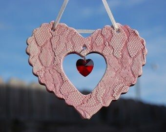 Handcrafted Ceramic Heart Suncatchers, Pink Lace