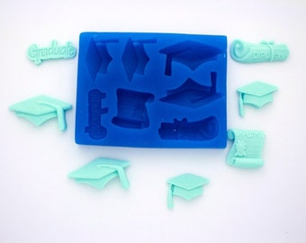GRADUATION SET SILICONE Mold For Fondant, Gum Paste, Chocolate, Hard Candy, Fimo, Clay, Soaps
