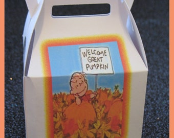 great pumpkin charlie brown favor box, halloween party favors, it's the great pumpkin Charlie Brown