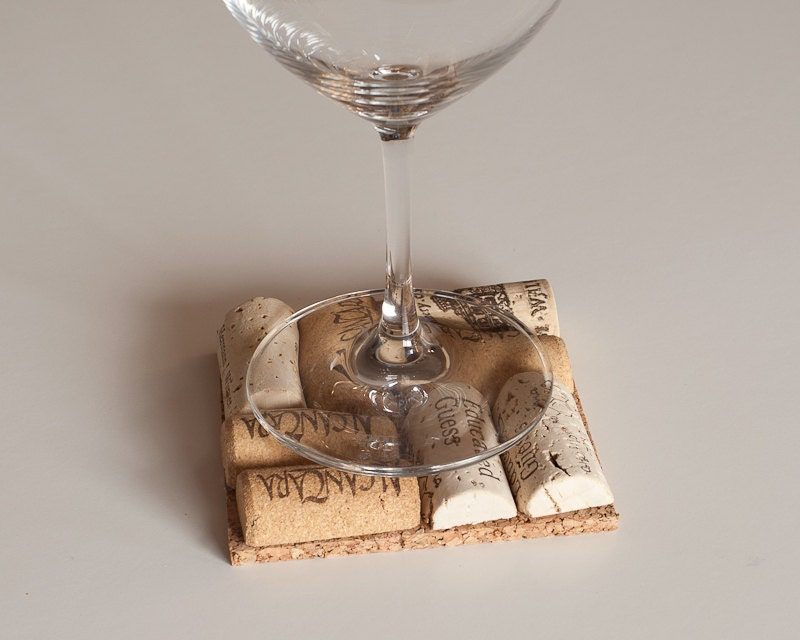 Wine cork coasters 4 wedding gift idea wine by for Wine cork crafts for weddings