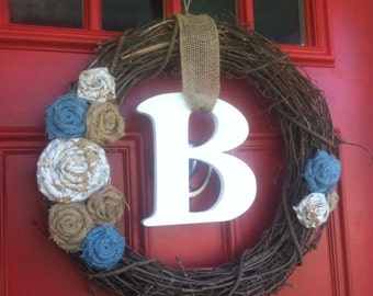 "18"" Grapevine and Burlap Rosette Wreath, ALL Season Wreath, Personalized Burlap Rosette Wreath,"
