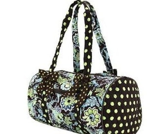 Quilted Lime Green and Brown and Dot Duffel  with free embroidery