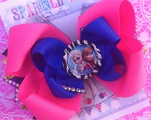 FROZEN BOW - Ana and Elsa Bow - Frozen Birthday - Elsa Bow - Ana Bow - Frozen Bow - Over the Top Bow - Frozen party - Girls Hair Bows