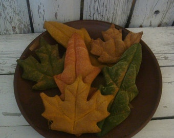6 Primitive Fall Leaves Tucks/ Bowl Fillers/ Ornies