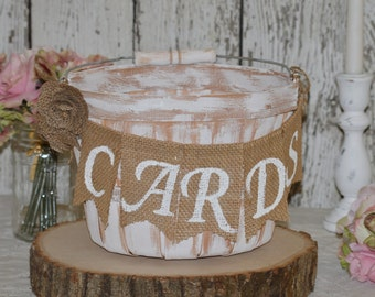 rustic wedding card box, burlap wedding basket, country card holder, vintage reception B204