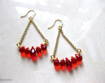 Red Chandelier Earrings, Crystal Teardrop Earrings, Swing Earrings, Trapeze Earrings