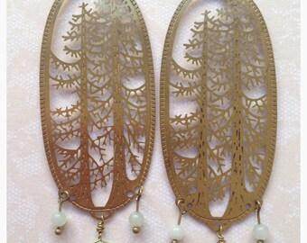 Light green amazonite antique brass chinese tree chandelier earrings