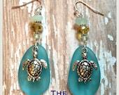 EVERSEA Apocalypso Blue Limited Edition Aqua Sea Glass Sea Turtle Earrings