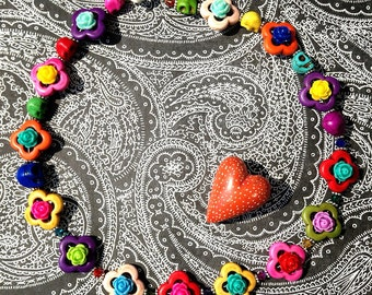 Always in Clover Rose Skull Day of the Dead Necklace Retro Rockabilly Pin Up