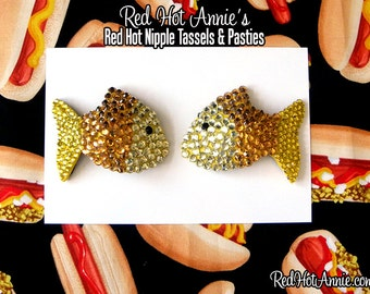 Rhinestone Goldfish Burlesque Pasties (Yellow or White)