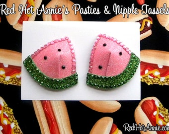 Rhinestone Watermelon Burlesque Pasties (Pink or Red)
