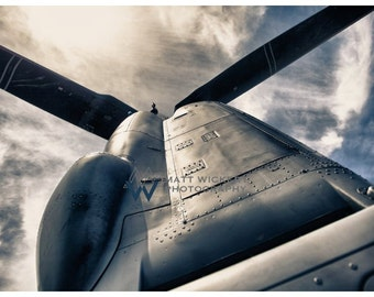 Aviation Photography, US Marine Corps V-22 Osprey Rotor Pod, Metallic Photographic Print