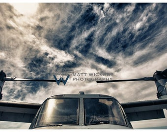 Aviation Photography, Marine Corps V-22 Osprey, Metallic Photographic Print