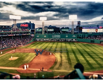 New England Photography, Mini Green Monster, Fenway Park, Boston Red Sox, Metallic Photographic Print