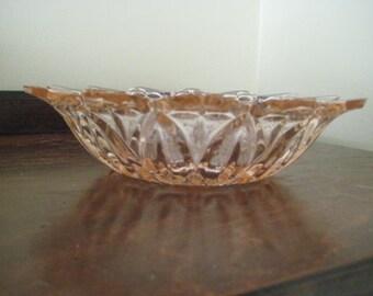 Sunflower Pink Cut Glass Bowl