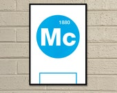"Essential Elements: ""Man City"" A4 Football Print in sky blue and white"